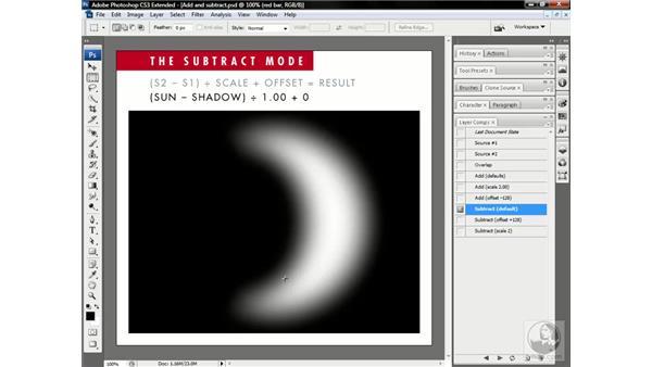 How the Subtract blend mode works: Photoshop CS3 Channels & Masks: Advanced Techniques