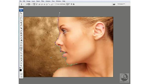 Adding and deleting endpoints: Photoshop CS3 Channels & Masks: Advanced Techniques