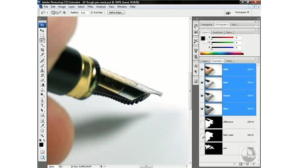 Drawing missing details with the Lasso tool: Photoshop CS3 Channels & Masks: Advanced Techniques