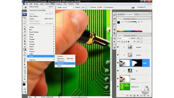 Selectively choking edges: Photoshop CS3 Channels & Masks: Advanced Techniques