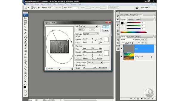 Lightening the credit card letters: Photoshop CS3 Channels & Masks: Advanced Techniques