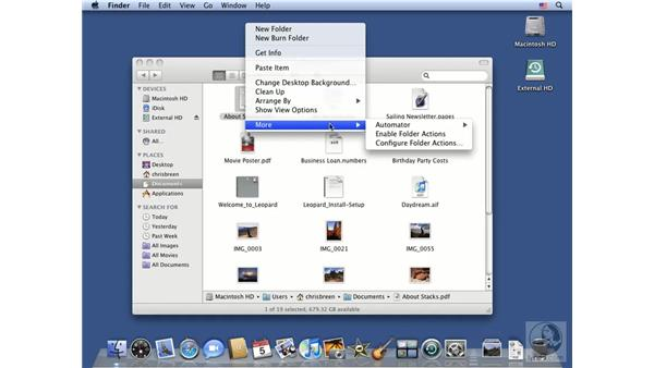 Working with contextual menus: Mac OS X 10.5 Leopard Essential Training