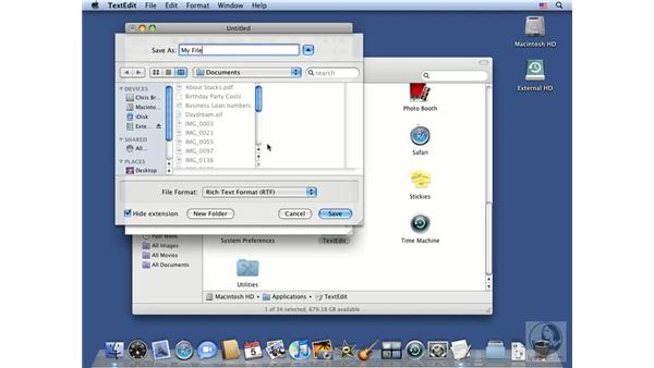 Understanding the Open and Save dialogs: Mac OS X 10.5 Leopard Essential Training