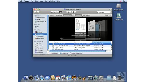 Working with the Spotlight Search window: Mac OS X 10.5 Leopard Essential Training