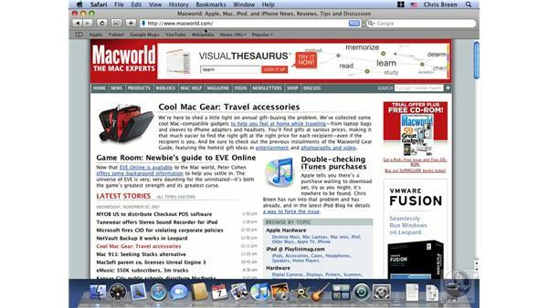 Working with the Address bar: Mac OS X 10.5 Leopard Essential Training