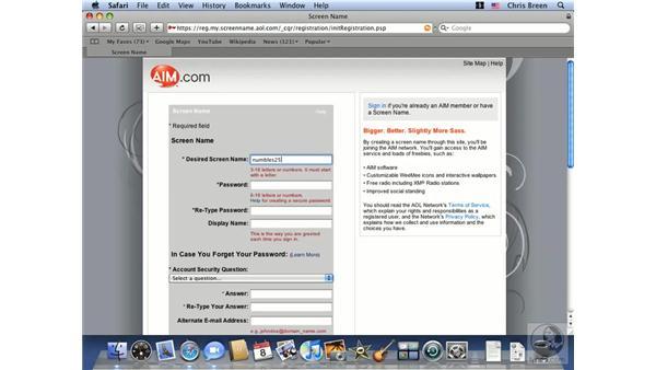 Setting up an AIM account in iChat: Mac OS X 10.5 Leopard Essential Training