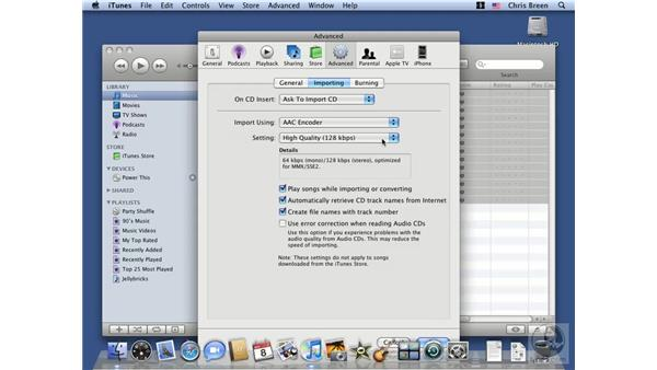 Playing and ripping an audio CD: Mac OS X 10.5 Leopard Essential Training