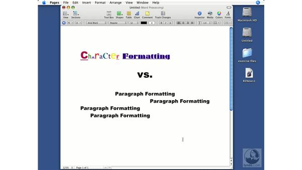 Character vs. paragraph formatting: Pages '08 Essential Training