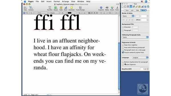 Hyphenation and ligatures: Pages '08 Essential Training