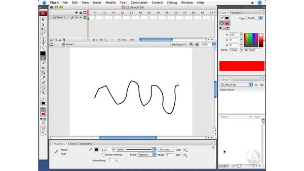 Drawing with the Pencil tool: Flash CS3 Professional Fundamentals