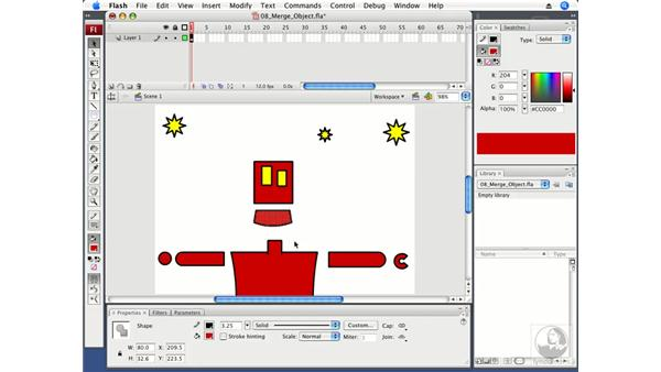 Using merge and object drawing: Flash CS3 Professional Fundamentals