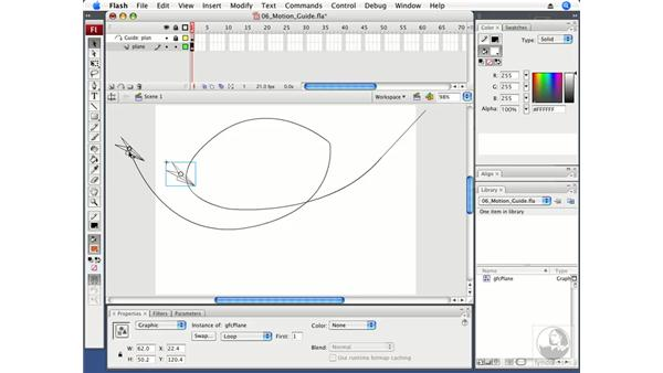 Using a motion guide: Flash CS3 Professional Fundamentals