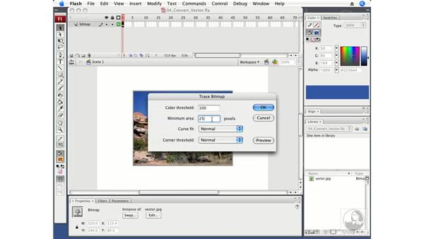 Converting bitmaps to vectors: Flash CS3 Professional Fundamentals