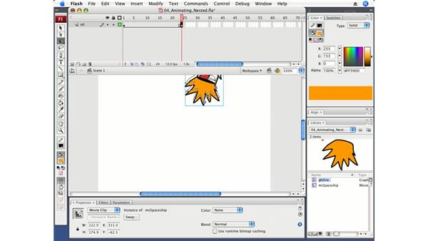 Animating a MovieClip symbol containing a nested animation: Flash CS3 Professional Fundamentals