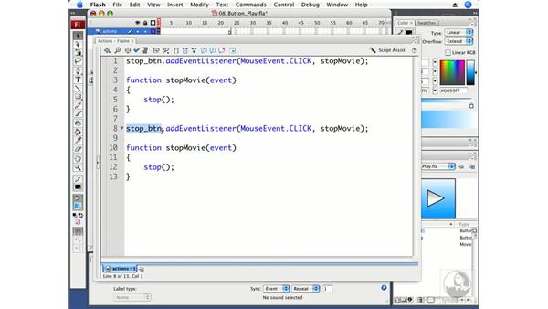 Using a button to play an animation: Flash CS3 Professional Fundamentals