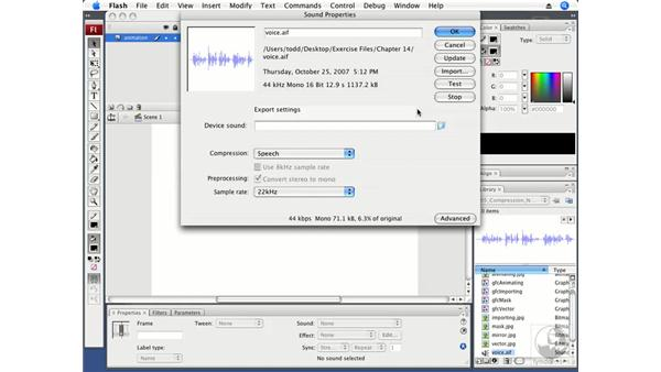 Setting compression for narration: Flash CS3 Professional Fundamentals