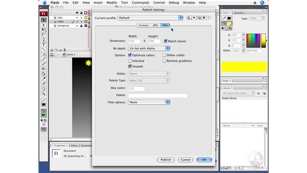 Exporting static images: Flash CS3 Professional Fundamentals