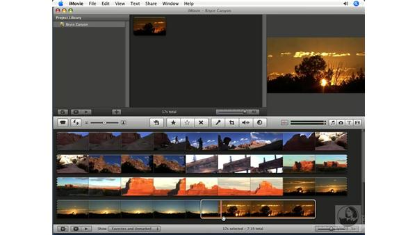 Selecting and adding clips to a project: iMovie '08 Essential Training