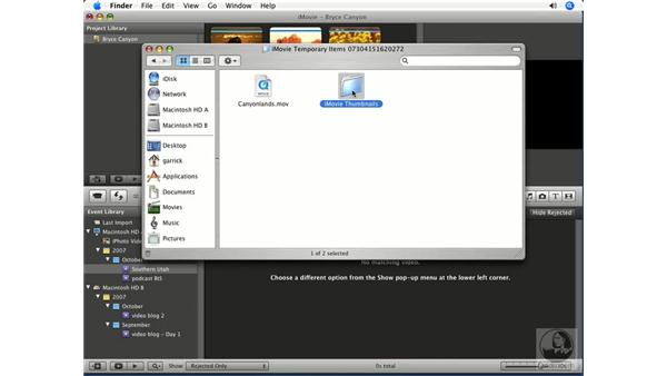Deleting unwanted clips from your hard drive: iMovie '08 Essential Training