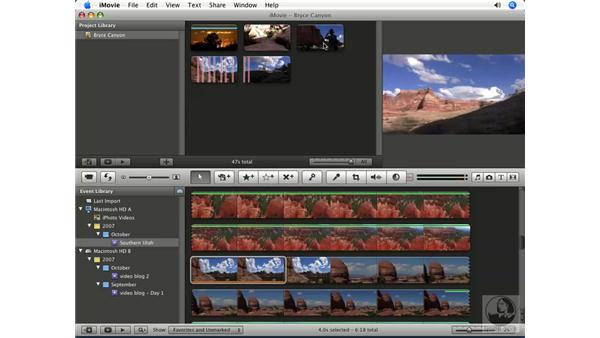 Splitting clips: iMovie '08 Essential Training