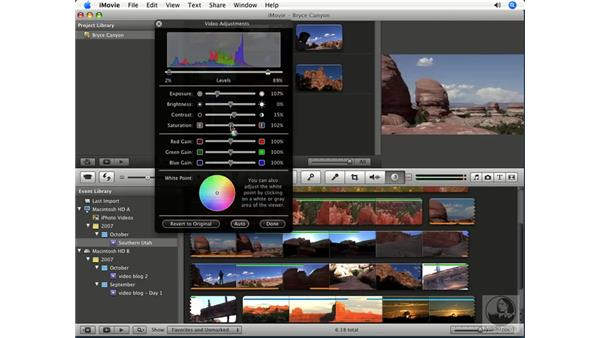 Adjusting color: iMovie '08 Essential Training