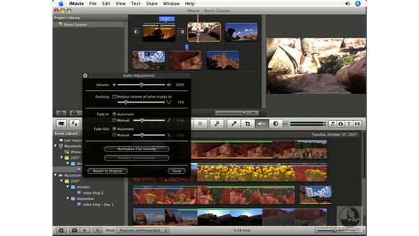 Adjusting audio levels and position: iMovie '08 Essential Training