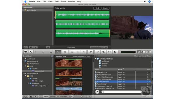 Adding background music: iMovie '08 Essential Training