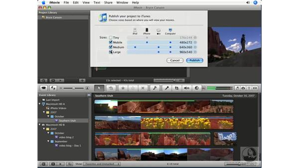 Exporting to iTunes: iMovie '08 Essential Training