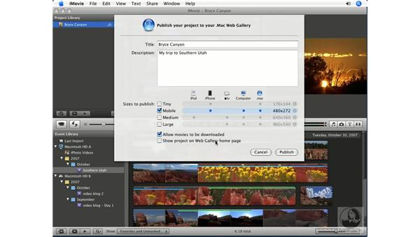 Publishing to a .Mac Web Gallery: iMovie '08 Essential Training