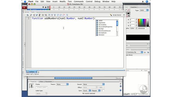 Using functions: Flash CS3 Professional Beyond the Basics