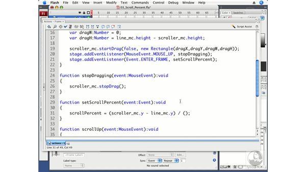 Calculating a scroll percent: Flash CS3 Professional Beyond the Basics