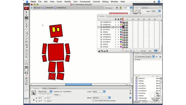 Animating the dragged robot: Flash CS3 Professional Beyond the Basics