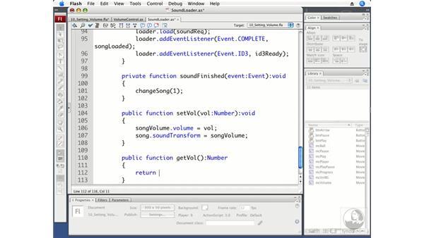 Displaying the current volume: Flash CS3 Professional Beyond the Basics