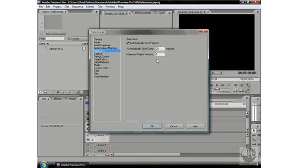 Setting up Auto Save: Premiere Pro CS3 Beyond the Basics