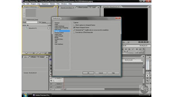 Setting video capture preferences: Premiere Pro CS3 Beyond the Basics