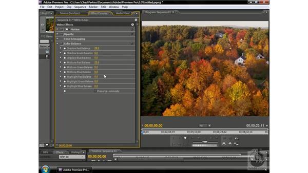 Using color balance: Premiere Pro CS3 Beyond the Basics
