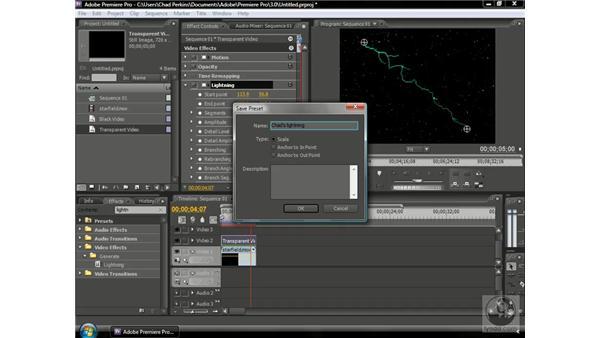 Saving custom effects settings: Premiere Pro CS3 Beyond the Basics