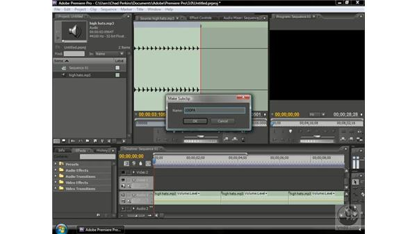Creating audio subclips: Premiere Pro CS3 Beyond the Basics