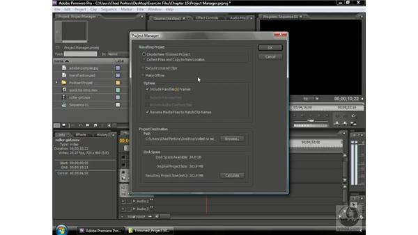 Creating a trimmed project: Premiere Pro CS3 Beyond the Basics