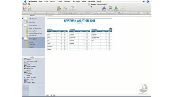 Saving spreadsheets: Numbers '08 Essential Training