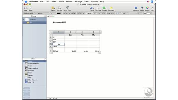 Working with rows and columns: Numbers '08 Essential Training
