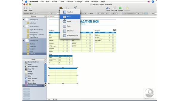 Creating, renaming, and deleting table styles: Numbers '08 Essential Training