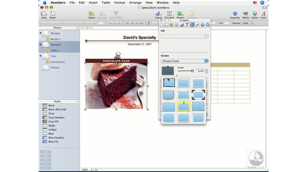 Adding and adjusting images: Numbers '08 Essential Training