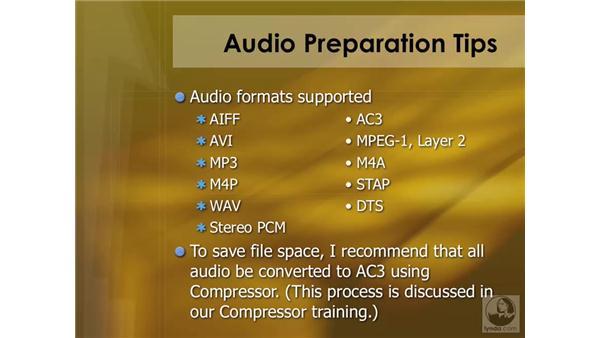 Preparing audio assets: DVD Studio Pro 4 Essential Training