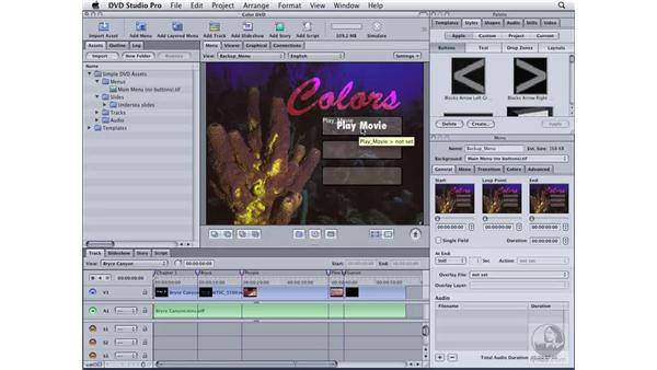 Creating a menu from an image: DVD Studio Pro 4 Essential Training