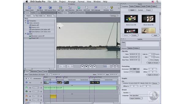 Using graphics as subtitles: DVD Studio Pro 4 Essential Training