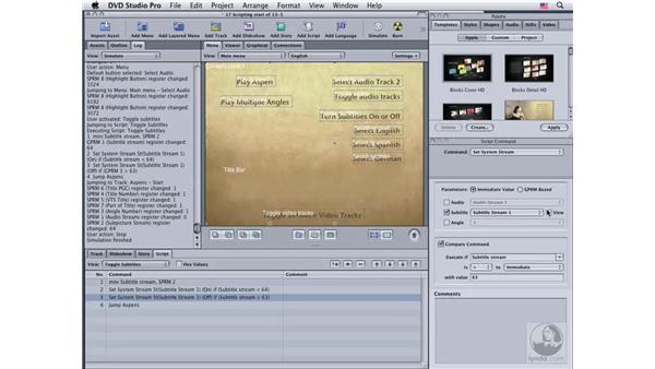 Controlling subtitles with scripts: DVD Studio Pro 4 Essential Training