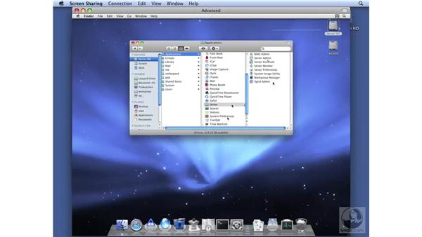 Using remote administration with Screen Sharing: Mac OS X Server 10.5 Leopard Essential Training