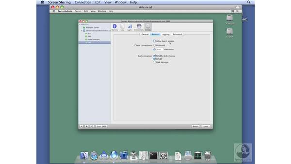 Setting up SMB file services: Mac OS X Server 10.5 Leopard Essential Training