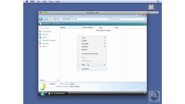 Testing an SMB share point with Windows Vista: Mac OS X Server 10.5 Leopard Essential Training